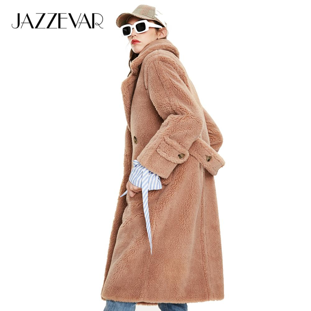 JAZZEVAR 2019 Winter New Arrival Fur Coat Women Outerwear Loose Clothing Fashion Style Teddy Bear Long Warm Coat Women K9062