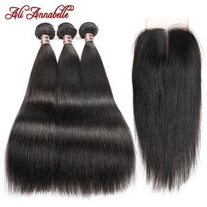 ALI ANNABELLE Straight Hair Bundles With Closure Brazilian Human Hair Bundles With Closure 4x4 6x6 Closure With Bundles Straight(China)