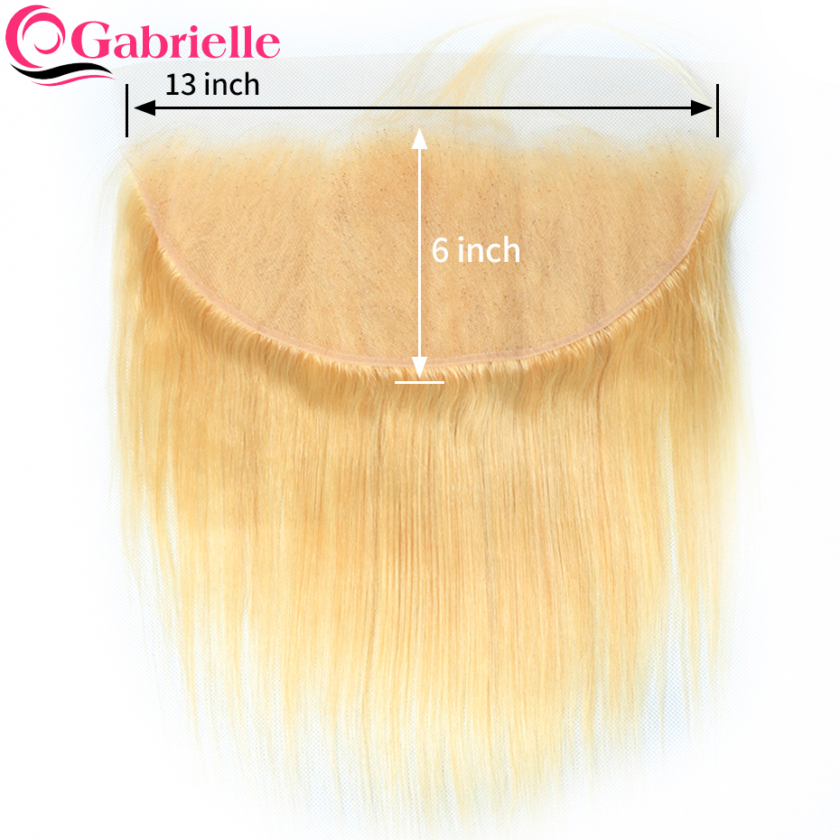 Gabrielle Frontal Closure Human-Hair 13x6 Lace Remy Pre-Plucked Straight Brazilian