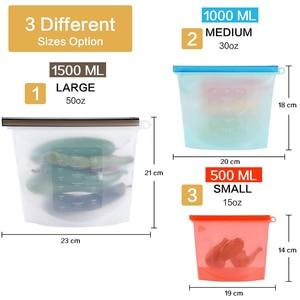 Image 2 - 3 حجم قابلة لإعادة الاستخدام كيس تخزين طعام من السيليكون أكياس محكم ختم الغذاء الحفاظ على الحاويات حقيبة حفظ الطازجة للفواكه النباتية