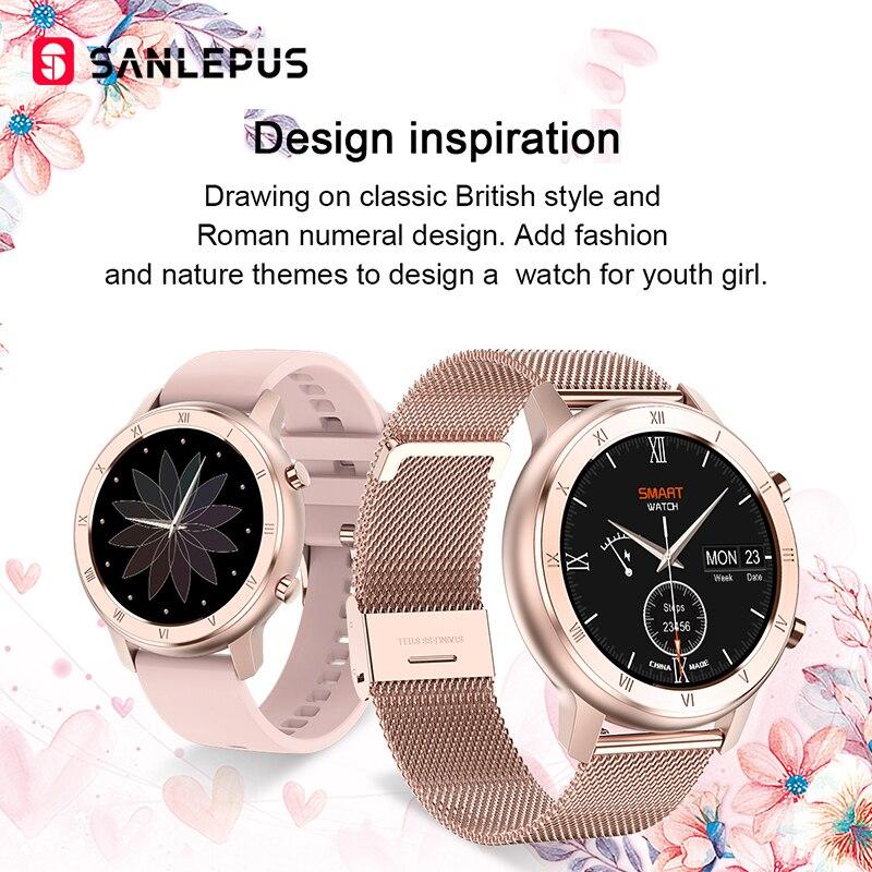 Умные часы SANLEPUS глобальная версия IP67, водонепроницаемые Смарт-часы, новинка 2020, мужской и женский фитнес-браслет, ремешок для Android, Apple, Xiaomi-4