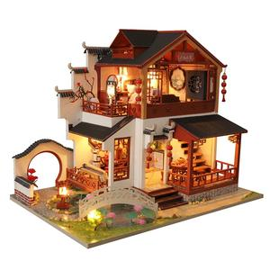 DIY DollHouse Furniture Miniature Doll House Room Box Children Toys Birthday Valentine's Day Gift Chinese Ancient Building|Wood DIY Crafts| |  -