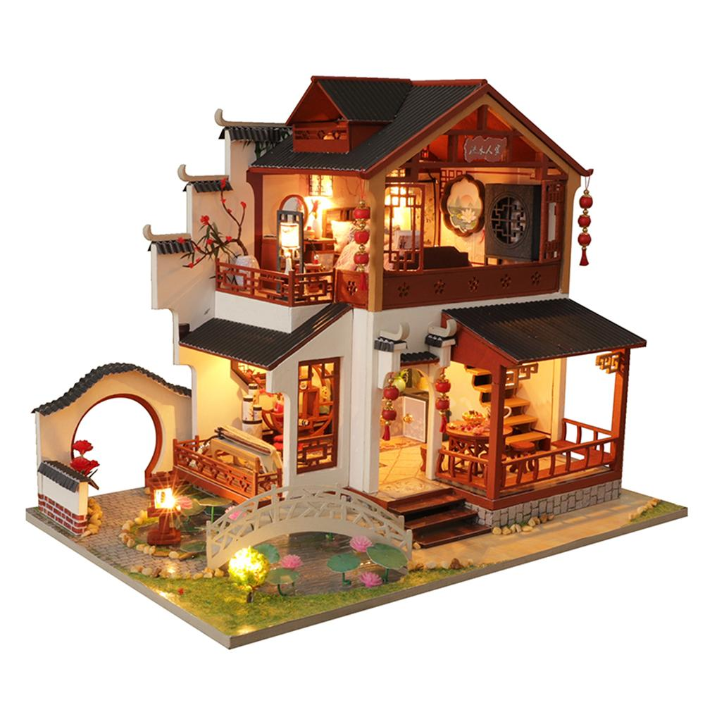 DIY DollHouse Furniture Miniature Doll House Room Box Children Toys Birthday Valentine's Day Gift Chinese Ancient Building