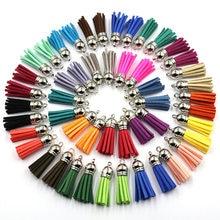 60 pçs/saco 38mm couro de camurça borla para chaveiro celular correias jóias verão diy pingente encantos encontrar
