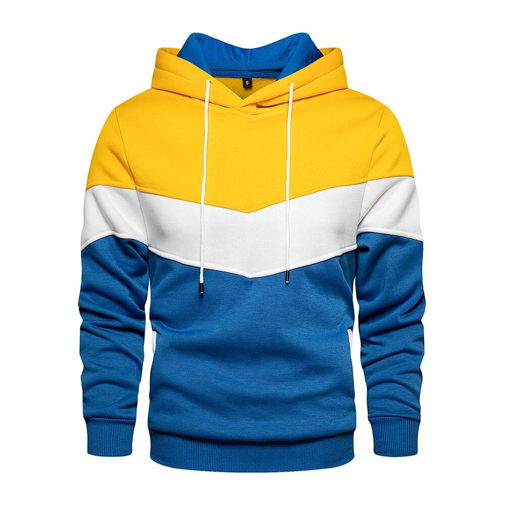 Retalhos masculinos com capuz moletom hoodies vestuário casual solto velo quente streetwear moda masculina outono inverno outwea