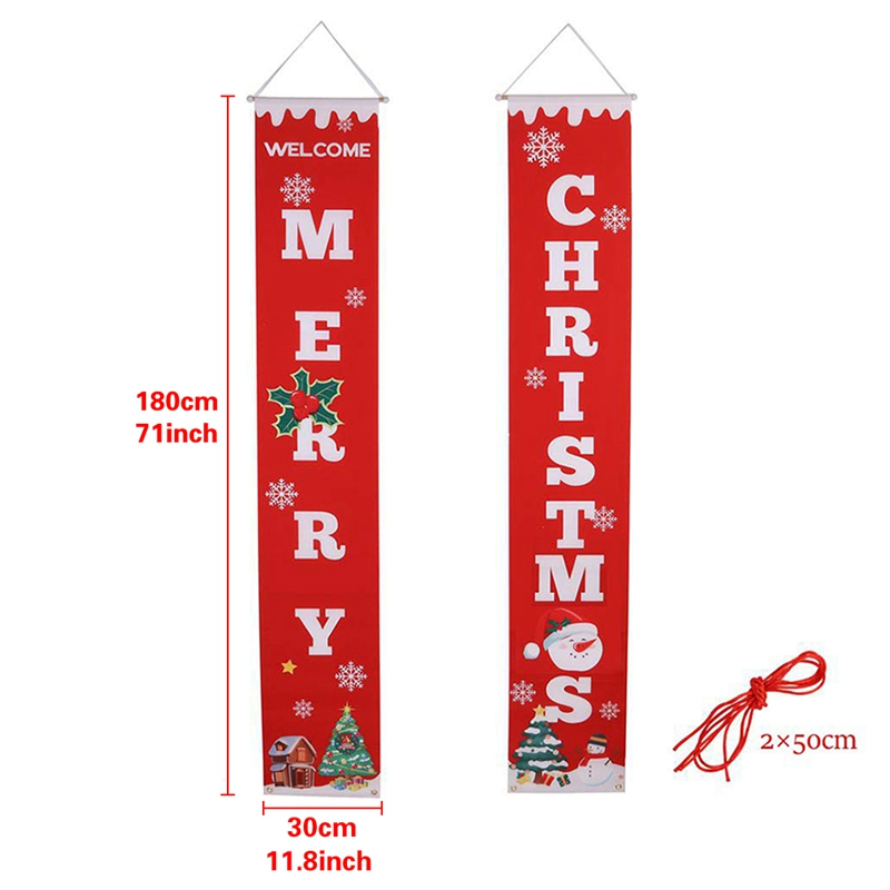 AYHF-Merry Christmas Banner Christmas Porch Fireplace Wall Signs Flag For Christmas Decorations Outdoor Indoor