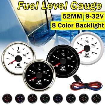 52mm paliwo samochodowe mierniki poziomu wskaźniki mierniki poziomu paliwa 0-190ohm 8 kolor nowy typ podświetlenie dla łodzi morskich samochodów motocykl 9-32V tanie i dobre opinie CN (pochodzenie) 111g none