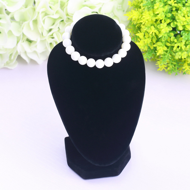 1PC New Black Velvet Fabric Display Holder For Necklace Mannequin Necklace Jewelry Pendant Display