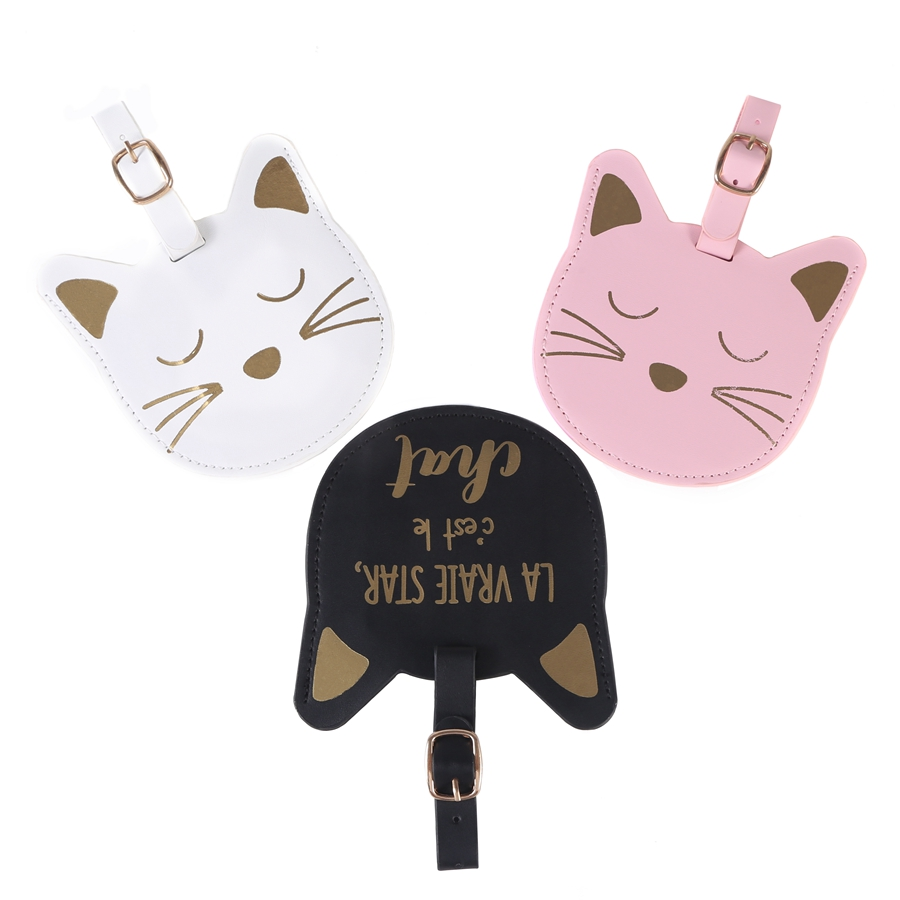 Suitcase Leather Luggage Lovely Cat Tag Bag Pendant Handbag Travel Accessories Name ID Address Wedding Invitation Label LT29