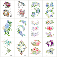 Wyuen 12 PCS/lot Flower Series Fake Tattoo Animal Waterproof Temporary Tatoo Stickers for Women Body Art Plant Tattoos JY-022