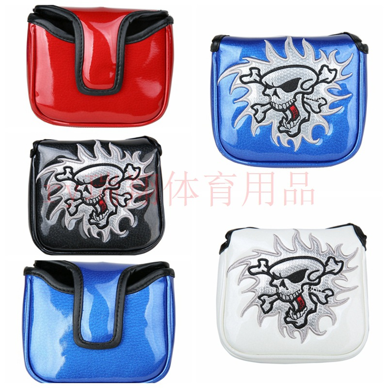 GOLF Rod Cover Square Embroidered Skull Putter Sleeve Suction Iron Buckle Four-Color Selectable