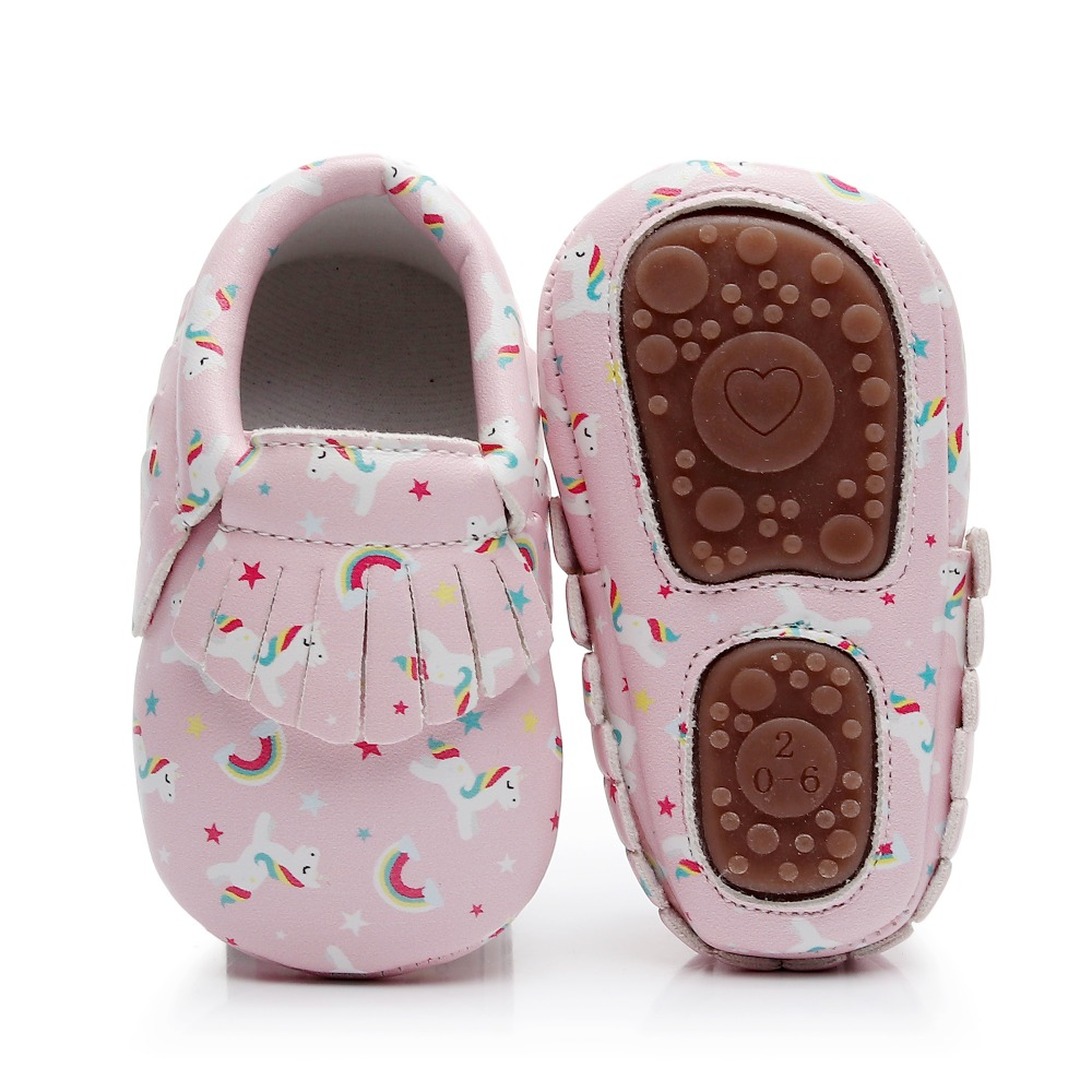 Brand New Cute Unicorn Printing Hard Sole Toddler First Walker Moccasins Fringe PU Leather Infant Bebe Crib Shoes