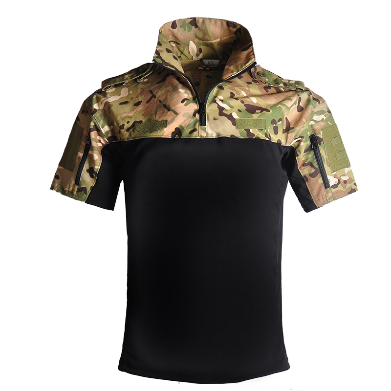 Outdoor Short Sleeve Polo Shirt CP Desert Camouflage Tactical Military Uniform Absorb Sweat Hunting Men Combat Army Suit