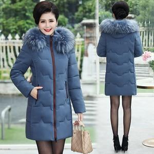 Image 5 - בתוספת גודל 5XL 2020 חורף מעיל נשים ארוך מעיל מקרית פרווה צווארון חורף מעייל דובון סלעית חם למטה מעיל הלבשה עליונה