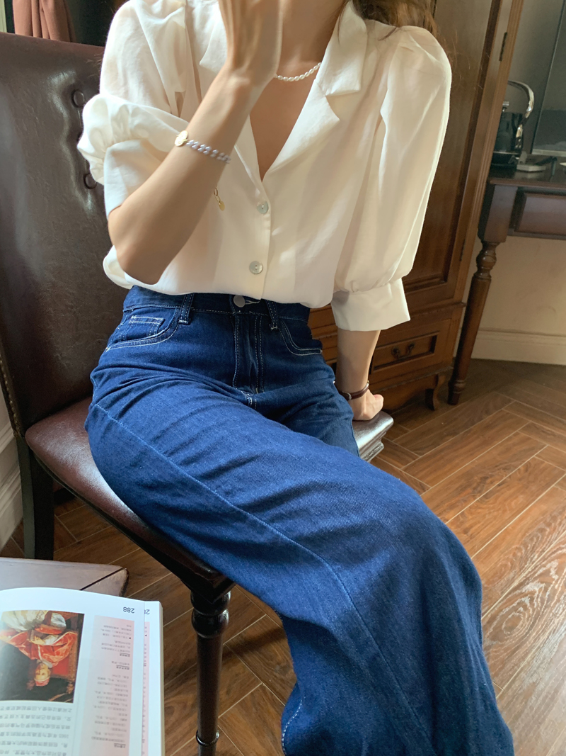 H541a6c3b20f64d4d91d485f7bc68ba98c - Summer Notched Collar Short Puff Sleeves Minimalist Buttons Blouse