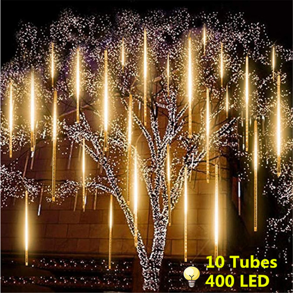 10 tubos 50cm de energia solar chuva de meteoros tubos 400led luz ao ar livre 360