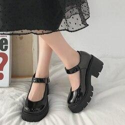 2020 novo Preto De Salto Alto Sapatos de Mulheres Bombas de Moda Sapatos de Plataforma de Couro Mulher Dedo Do Pé Redondo Mary Jane Sapatos Mujer
