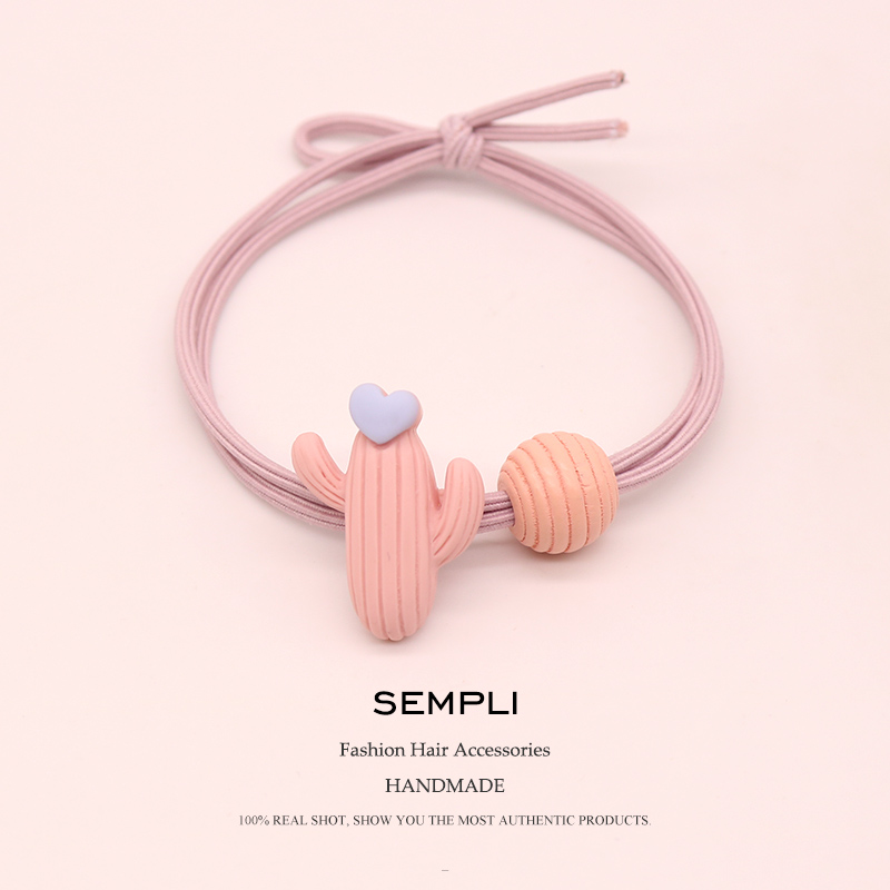 Sempli High Elasticity Nylon Elastic Hair Bands Cactus With Beads  For Girls Hand Knotted Women Hair Rubber Bands Kid Children