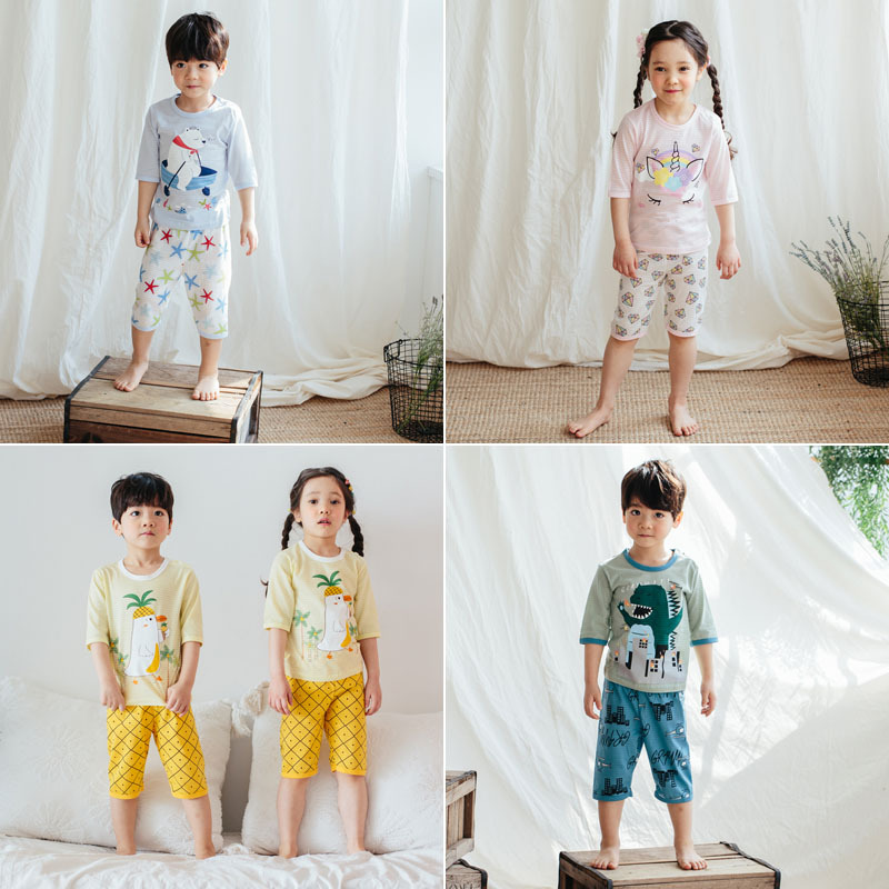South Korea Men And Women Children Puco2019 Spring And Summer New Style Slub Cotton Thin 7 Points Tracksuit Pajamas