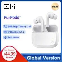 Globalna wersja ZMI PurPods prawdziwe bezprzewodowe słuchawki 1st na świecie Bluetooth 5.2 2Mic anty hałasu wodoodporna w ucho słuchawki sportowe