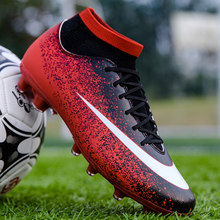 Mens Football Shoes Breathable Boys Girls Soccer Trainers Cleats High top Sock Ankle TF/FG Football Boots Unisex
