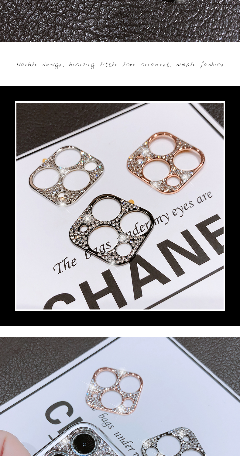 Bling Diamond Glitter Rhinestone Camera Protective Lens For iPhone 11 Pro Max Ring 9