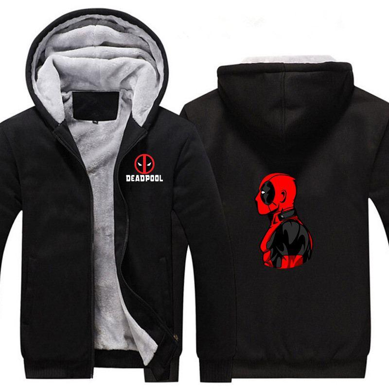New Comics Superhero Deadpool Thicken Hoodie Sweatshirts Cosplay Costume Cartoon Winter Warm Coat Hooded Men Clothing Gift