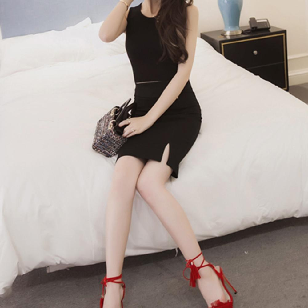 Office Lady Solid Color High Waist Split Zipper Skirt Stretch Bodycon Mini Dress Lady's solid color cardigan skirt
