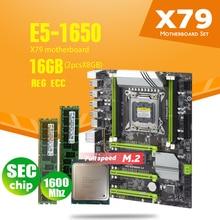 X79 Turbo Motherboard LGA2011 ATX Combos E5 1650 C2 2pcs x 8GB = 16GB 1600Mhz PC3 12800R  PCI E NVME M.2 SSD USB3.0 SATA3