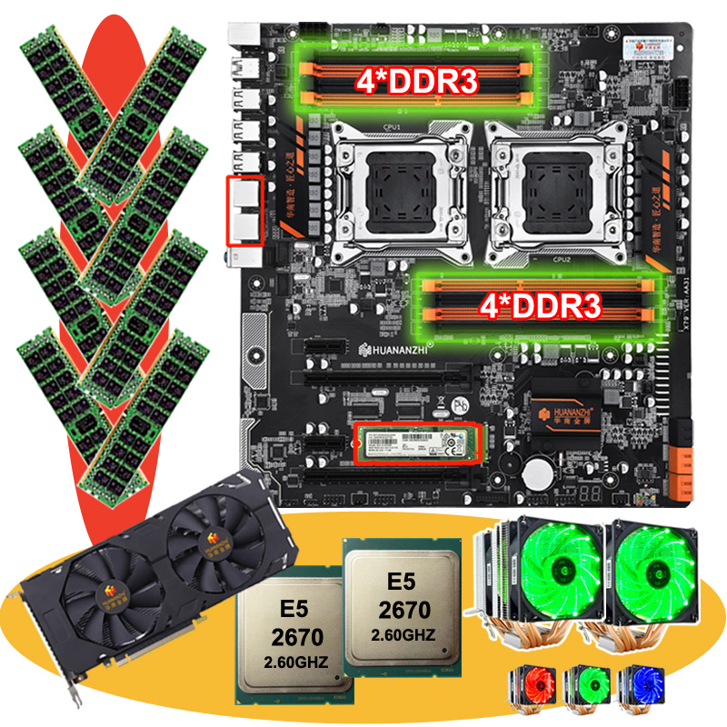 HUANANZHI dual X79 motherboard bundle with M.2 256G SSD video card GTX1660TI 6G dual CPU <font><b>Xeon</b></font> E5 <font><b>2670</b></font> with coolers RAM 64G(8*8G) image