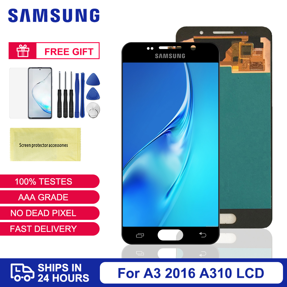 SUPER <font><b>AMOLED</b></font> A3 2016 <font><b>Display</b></font> For Samsung Galaxy A310 <font><b>A310F</b></font> LCD <font><b>Display</b></font> Touch Screen Digitizer Assembly For Samsung A310 LCD image