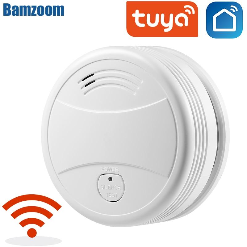 Детектор дыма Tuya с Wi-Fi, датчик Пожарной Сигнализации, автономный, работает от аккумулятора, с Push-уведомлением