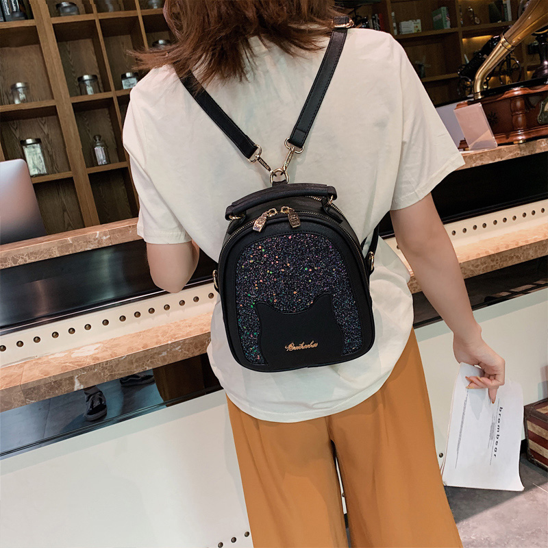 Beibaobao Fashion Women's Backpacks Sequin Cute Cat Girls School Bag Luxury Women Backpack 2020 New Street Women's Bag Designer