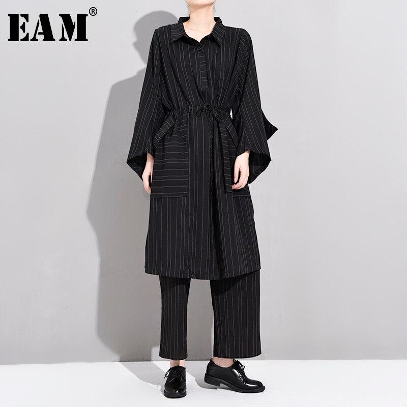 [EAM] Wide Leg Pants Striped Two Piece Suit New Lapel Long Sleeve Black Loose Fit Women Fashion Tide Spring Autumn 2020 YG218