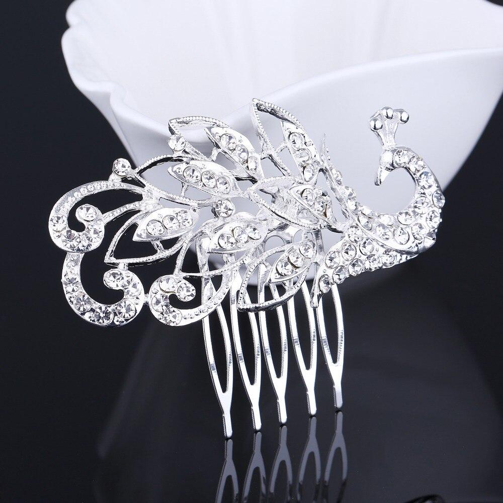 Bridal Wedding Hair Comb Tiaras Silver Plated Simulated Pearl Crystal Trendy Bridesmaid Metal Hair Headpiece Tiara for Women