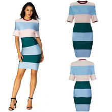 Short Sleeve O Neck Dress Summer Women Stripe Colorful 2019 New Style Comfortable Casual