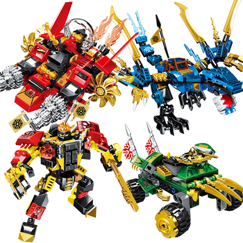 679pcs NINJA Dragon Chariot 4 in 1 Mech Kai Jay Cole Zane Lloyd ninjagoingly anime action Figures building Blocks bricks toys 2