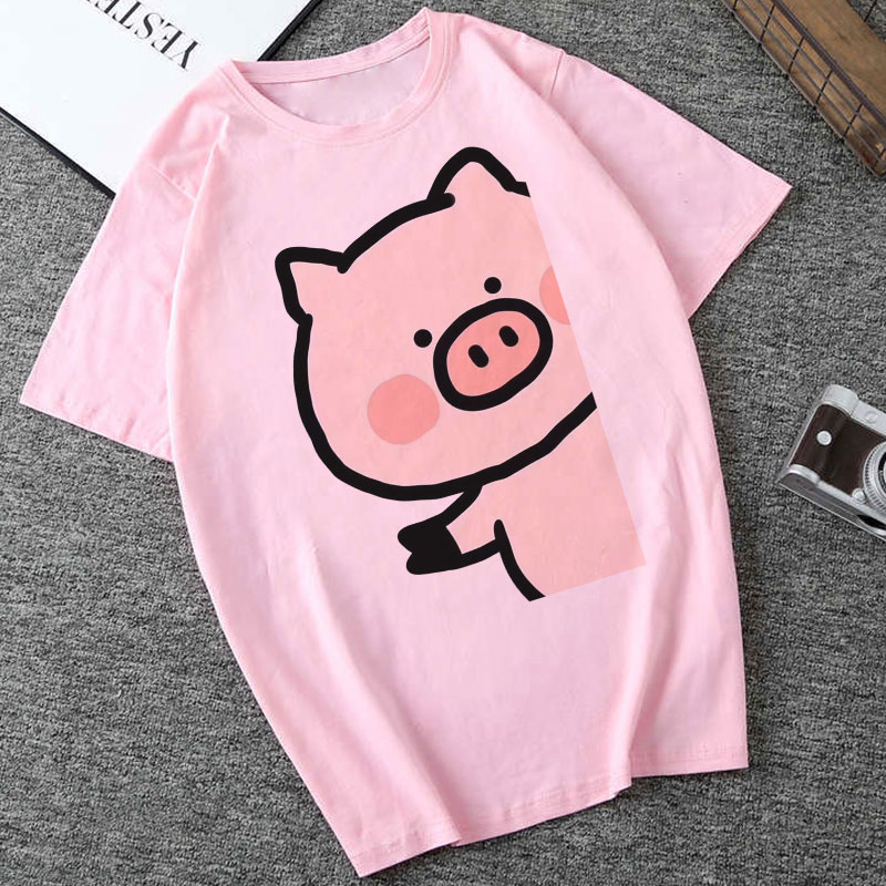 Summer Harajuku Aesthetic Short Sleeve Femme Tops Kawaii Pink Pig Printing Pattern Cute Tshirt Vogue Vintage Funny Women Clothes