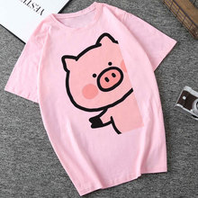 Summer Harajuku Aesthetic Short Sleeve Femme Tops Kawaii Pink Pig Printing Pattern Cute Tsh