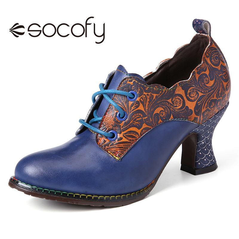 SOCOFY, zapatos de salón de tacón grueso con cremallera lateral y puntadas florales de cuero Vintage con cordones para Mujer, zapatos de punta redonda para fiestas, Botas para Mujer 2020 ZUECO ARMONIAS TACÓN TRACK