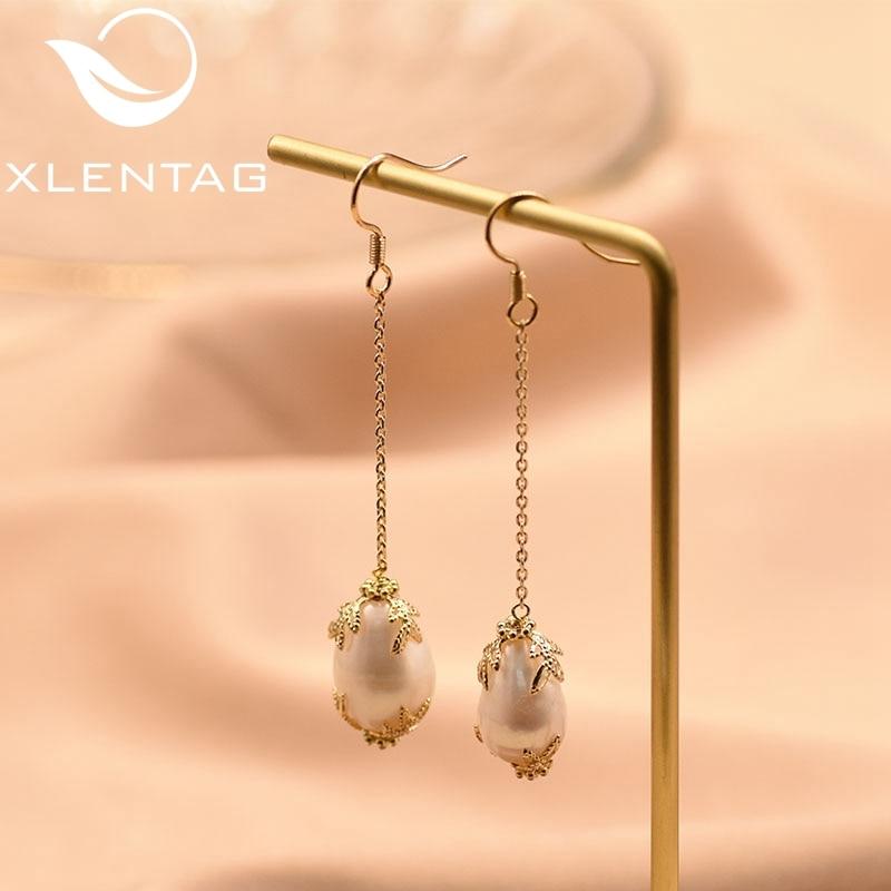 XlentAg Handmade Natural Fresh Waster Baroque Pearls Long Drop Earrings For Women Gifts Dangle Earrings Fine Jewellery GE0577