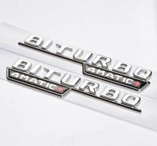 Para 2 peças logotipo emblema 3d biturbo 4matic + laterale interno adesivo stemma novo