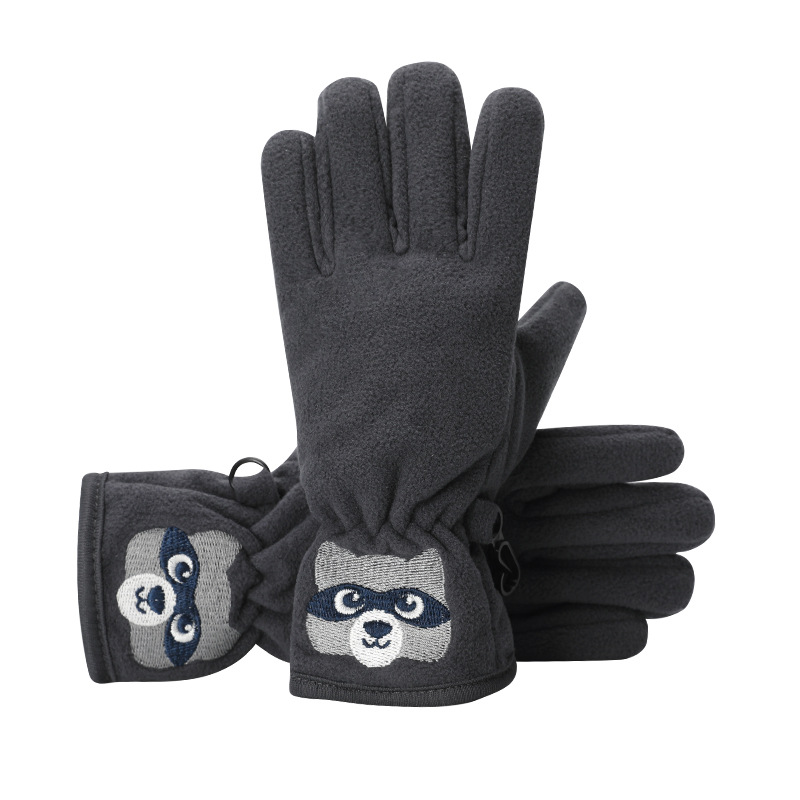 Winter Children's Cute Embroidery Cartoon Bear Plus Plush Thick Warm Ski Mittens Boy/Girl Windproof Sports Cycling Gloves D44