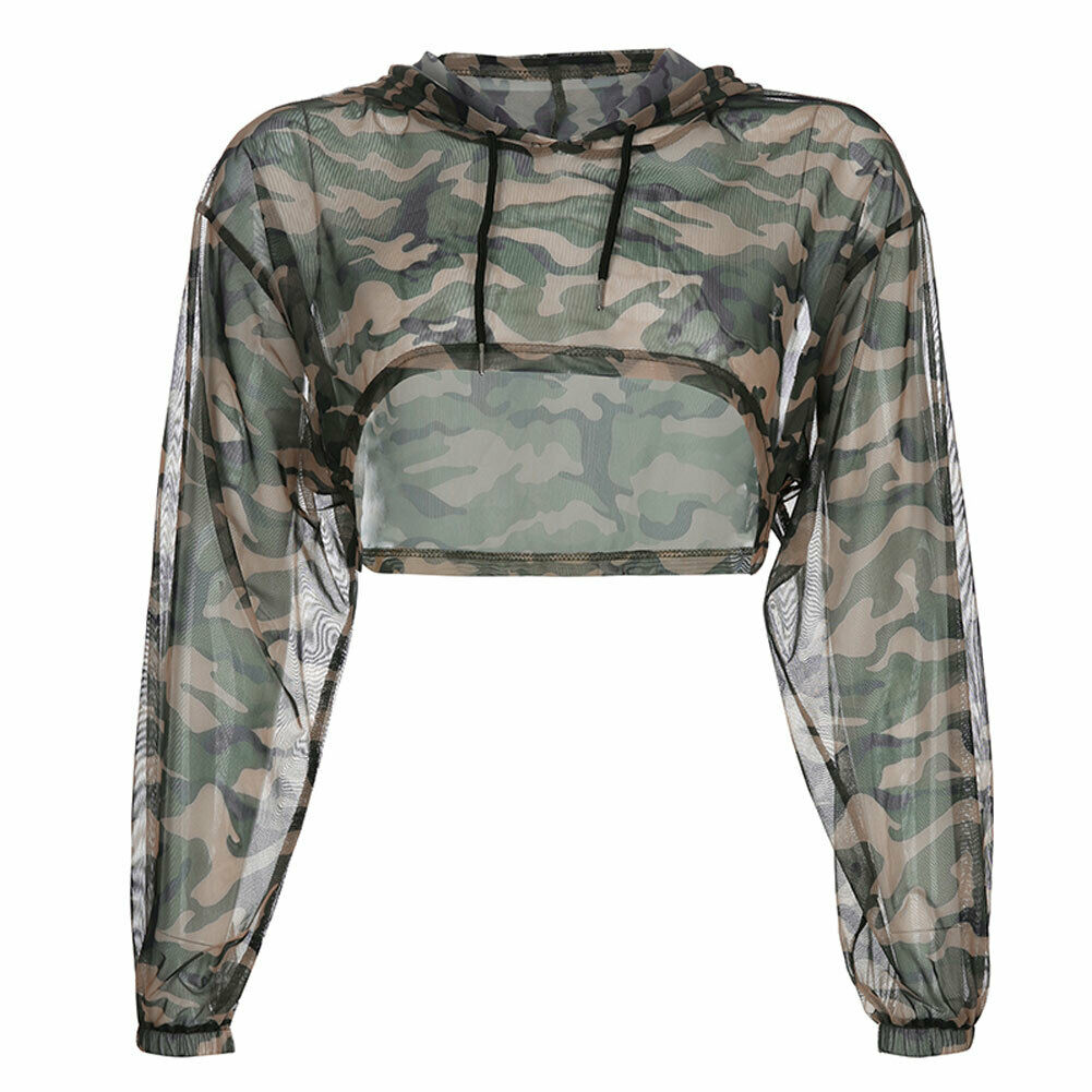 2019 Fashion Women Camouflage Pullover Long Sleeve Top Shirt Blouse Crop in Blouses amp Shirts from Women 39 s Clothing