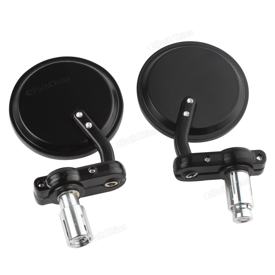 2Pcs Motorcycle Mirror Round 7 8 quot Aluminum Black Handle Bar End Foldable Rearview Side Mirrors Motor Accessories Car Styling in Side Mirrors amp Accessories from Automobiles amp Motorcycles