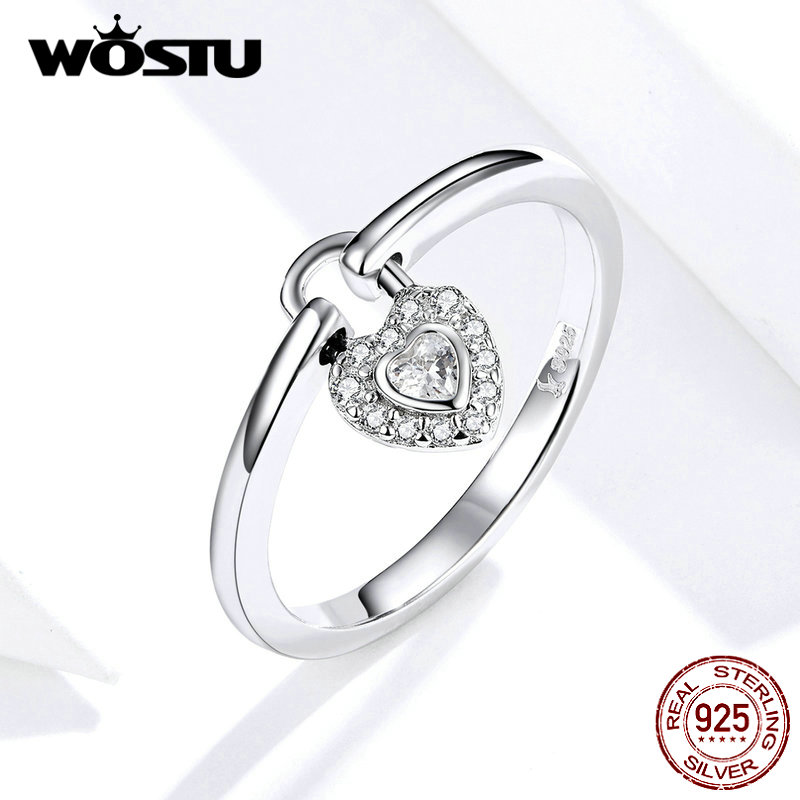 WOSTU 2019 New 100% Real 925 Sterling Silver The Lock Heart Rings For Women Mean Love Forever Birthday Party Gift FIR589