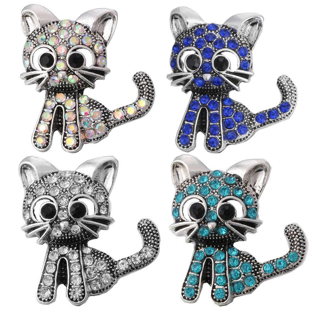 5 יח'\חבילה שחור חמוד חתול 18mm מתכת הצמד כפתור קסם צמיד נשים של אופנה DIY תכשיטי ZA403