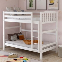 Solid Wooden Twin Over Twin Loft Bunk Bed Strong Sturdy Frame For Adults Kids Separable Safe Sleeping Bed With Slat Ladder