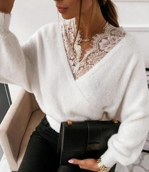 Fashion Sexy V-neck Lace Patchwork Plush Long Sleeve Top Womens Solid Color Sling Flannel