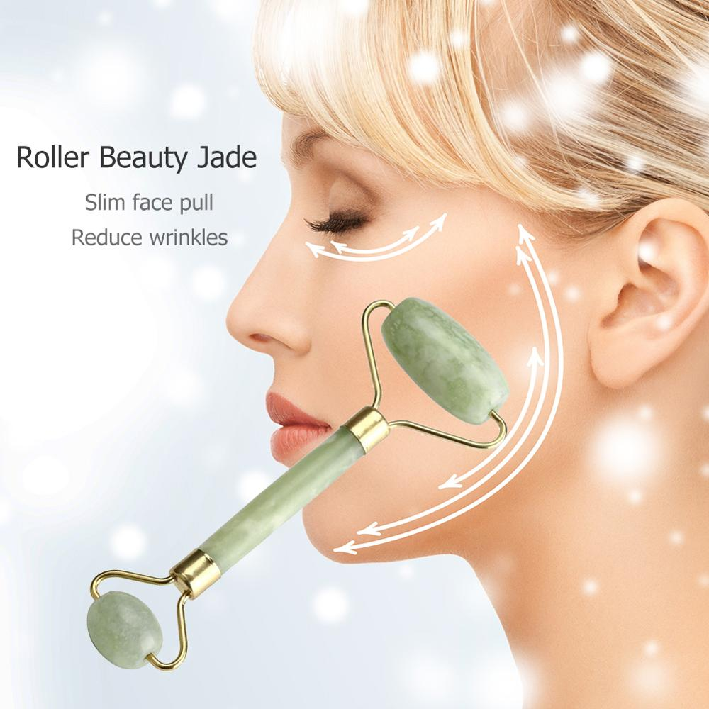 Facial Massage Roller Double Heads Jade Stone Face Lift Hands Body Skin Relaxation Slimming Beauty Make Up Health Skin Care Tool